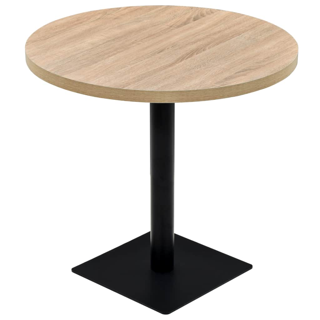 Bistro Table MDF and Steel Round 80x75 cm Oak Colour
