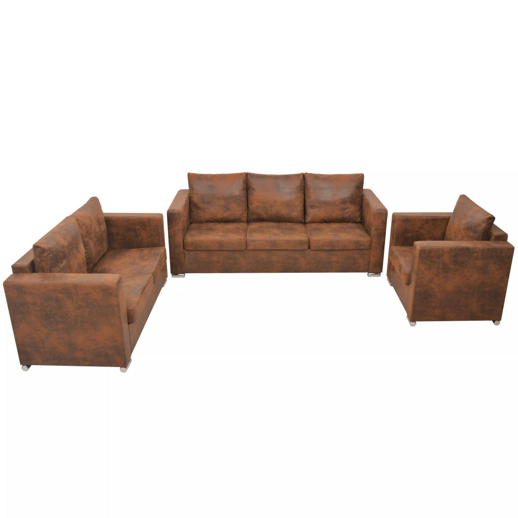 Sofa Set 3 Pieces Artificial Suede Leather 1