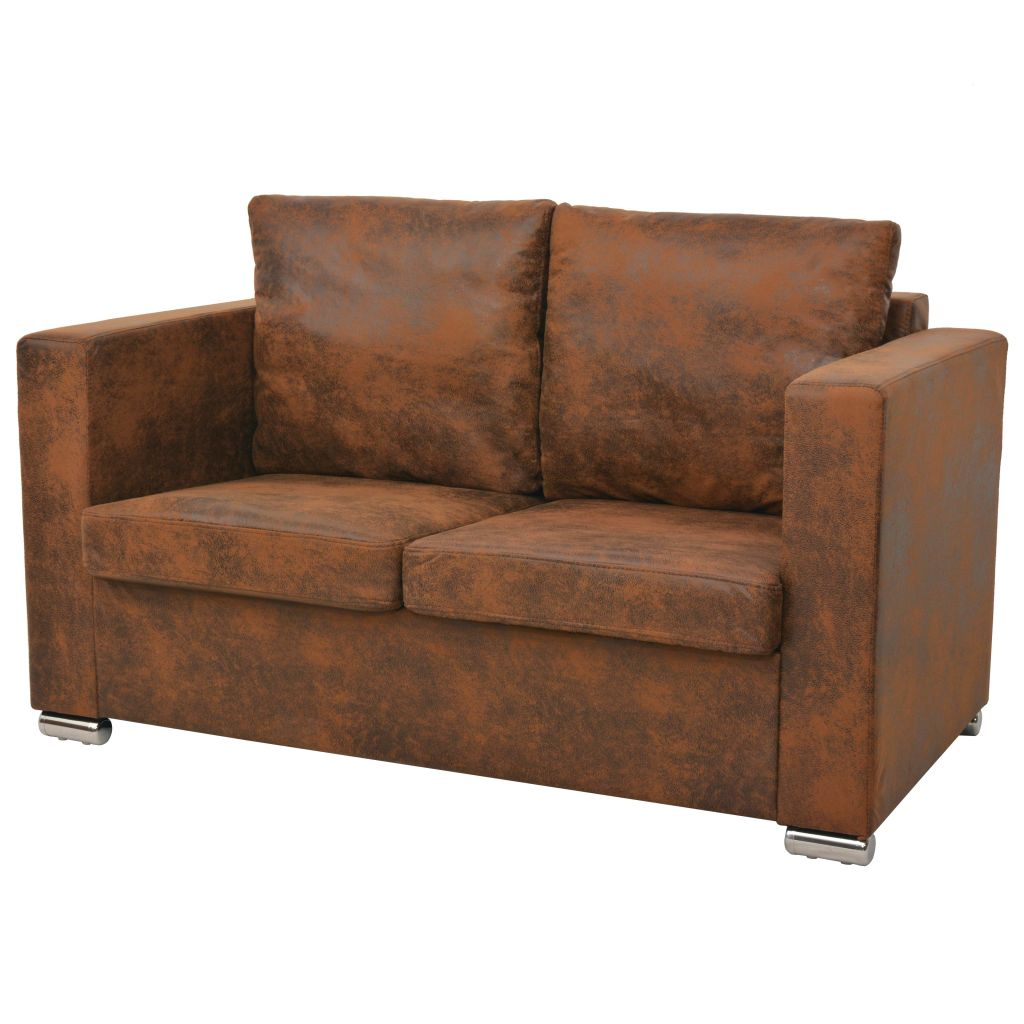 Sofa Set 3 Pieces Artificial Suede Leather 2