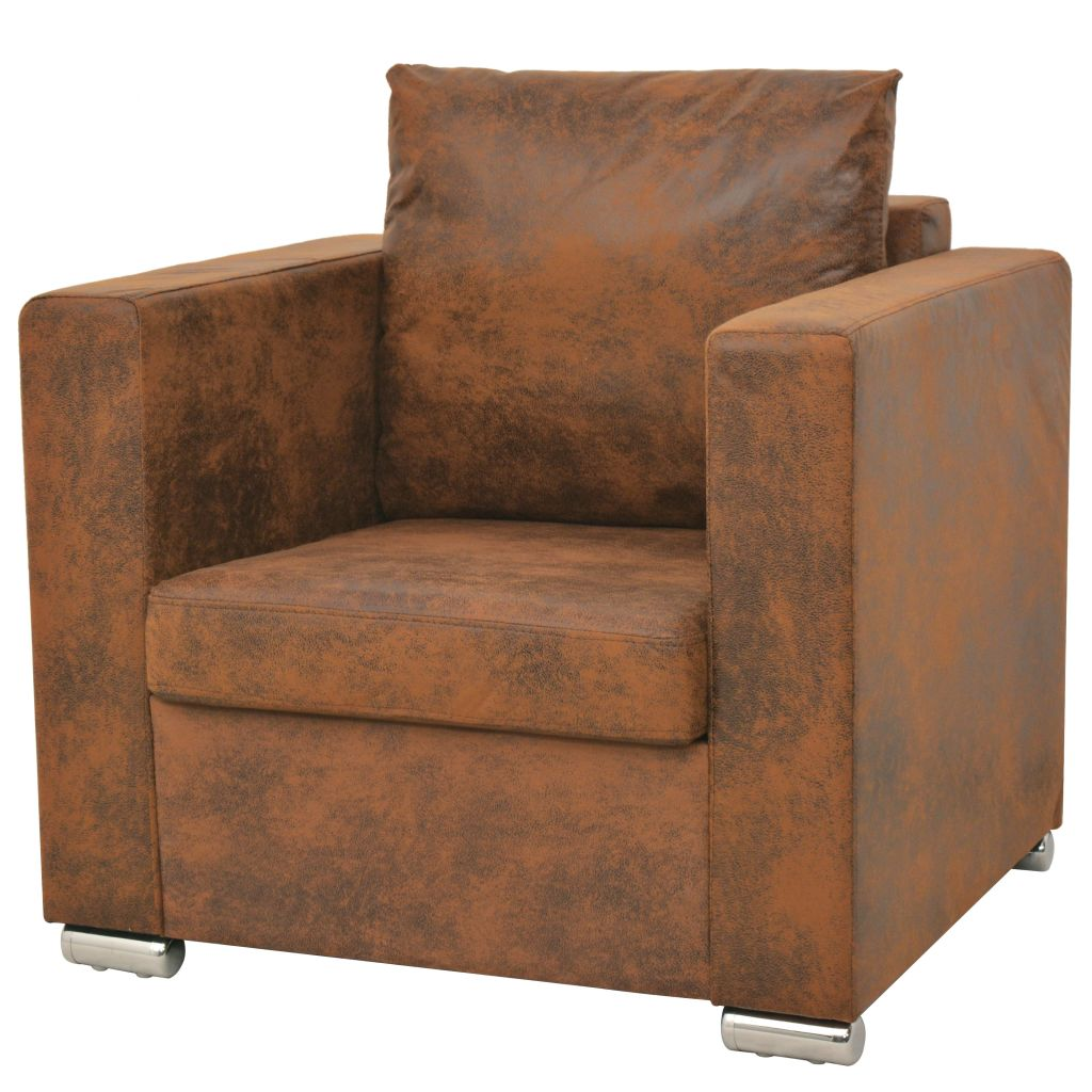 Sofa Set 3 Pieces Artificial Suede Leather 3