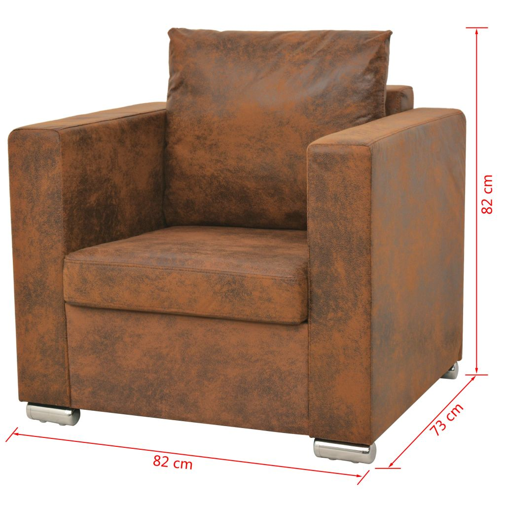 Sofa Set 3 Pieces Artificial Suede Leather 5