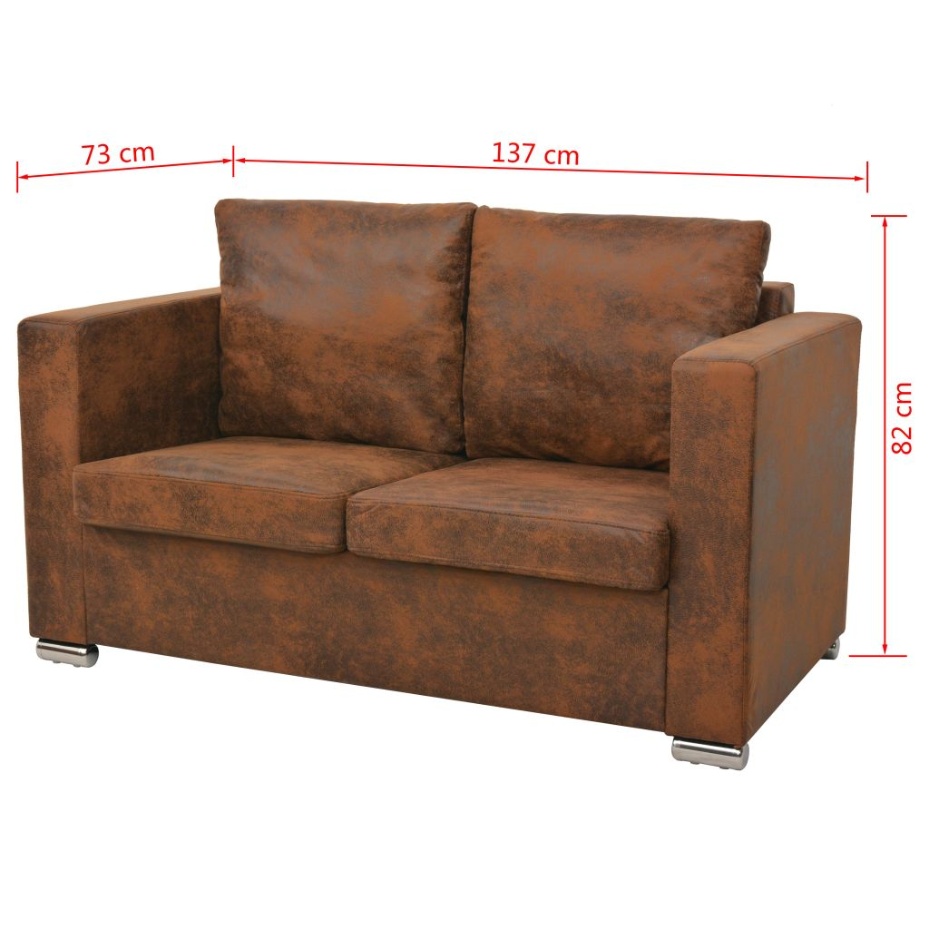 Sofa Set 3 Pieces Artificial Suede Leather 6