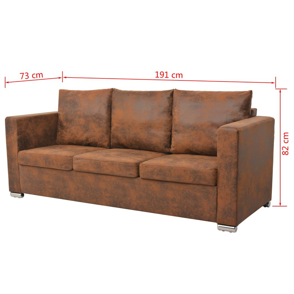 Sofa Set 3 Pieces Artificial Suede Leather 7