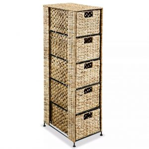 Storage Unit with 5 Baskets 25.5x37x100 cm Water Hyacinth