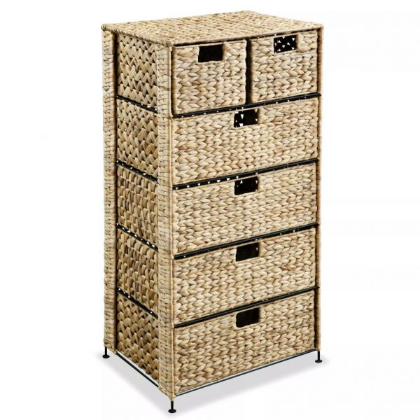 Storage Unit with 6 Baskets 47x37x100 cm Water Hyacinth 1
