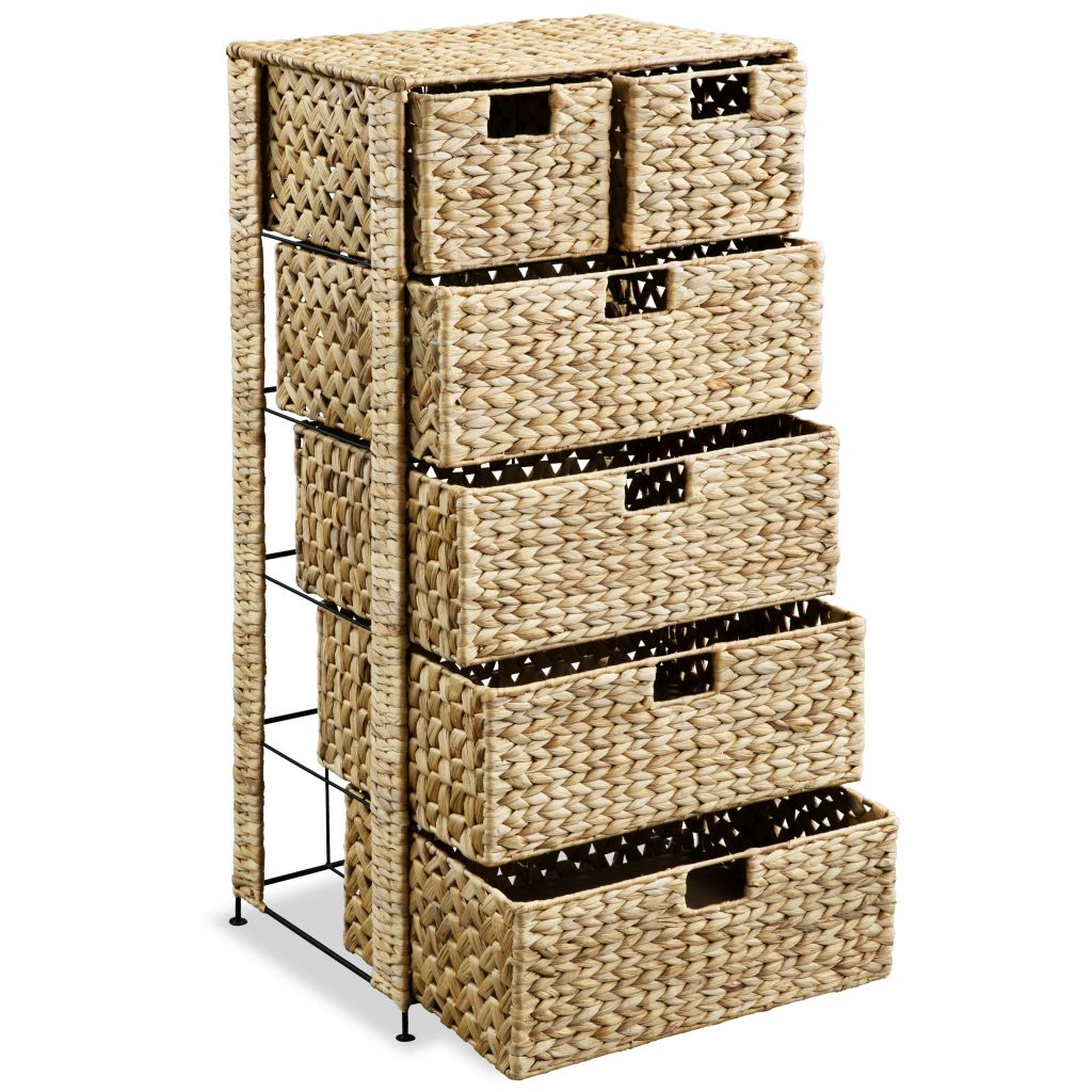 Storage Unit with 6 Baskets 47x37x100 cm Water Hyacinth 2