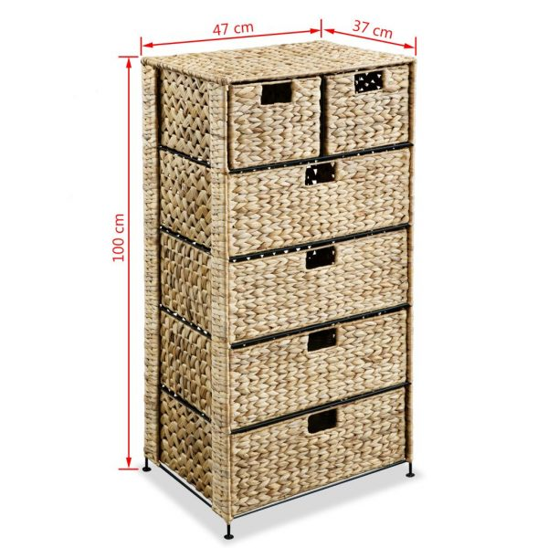 Storage Unit with 6 Baskets 47x37x100 cm Water Hyacinth 6