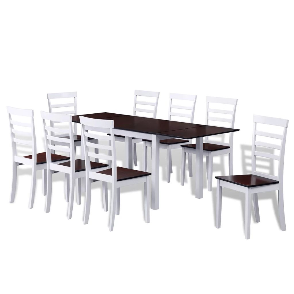 Extending Dining Set 9 Pieces Brown and White