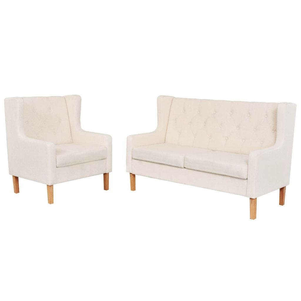 Sofa Set 2 Pieces Fabric Cream White