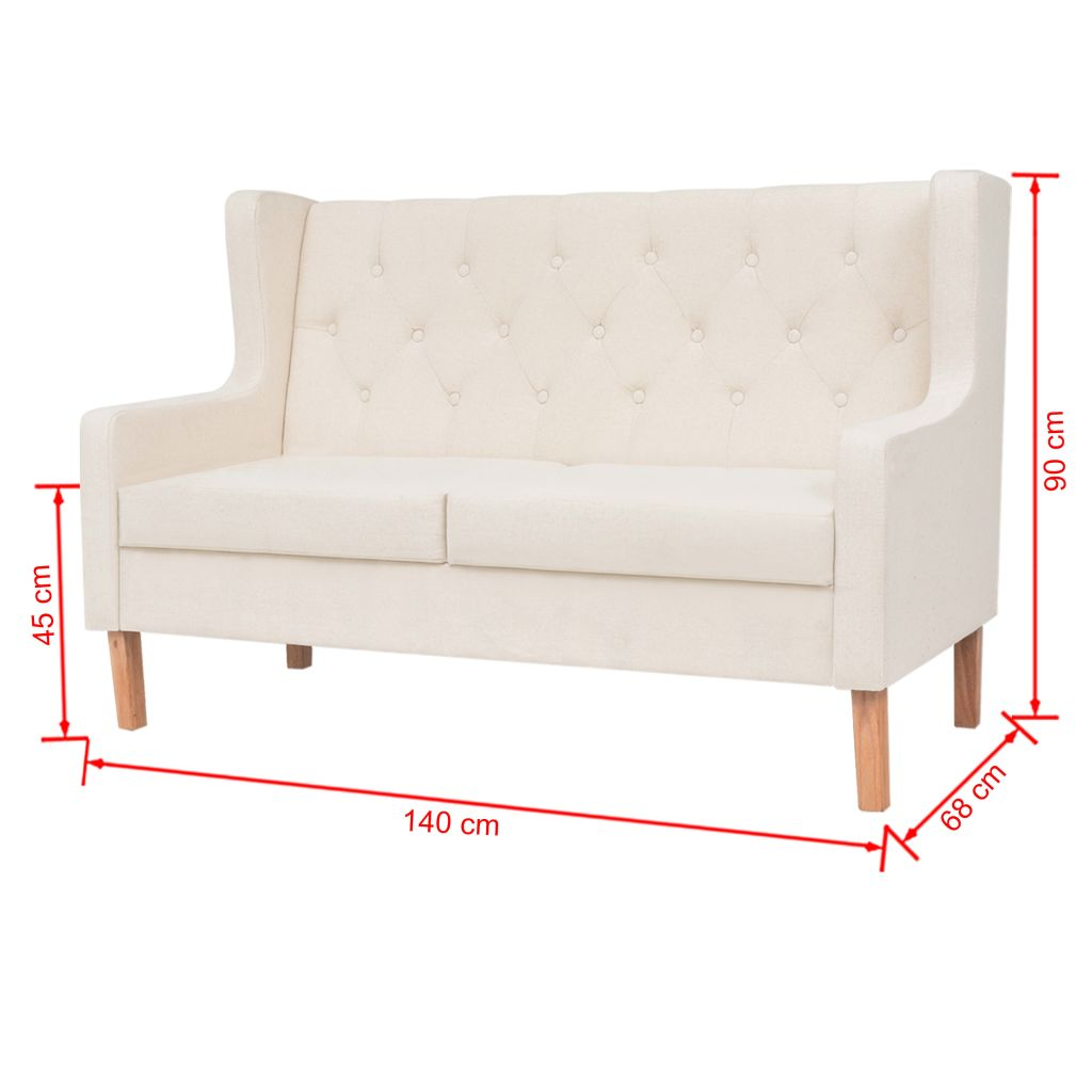 Sofa Set 2 Pieces Fabric Cream White 11