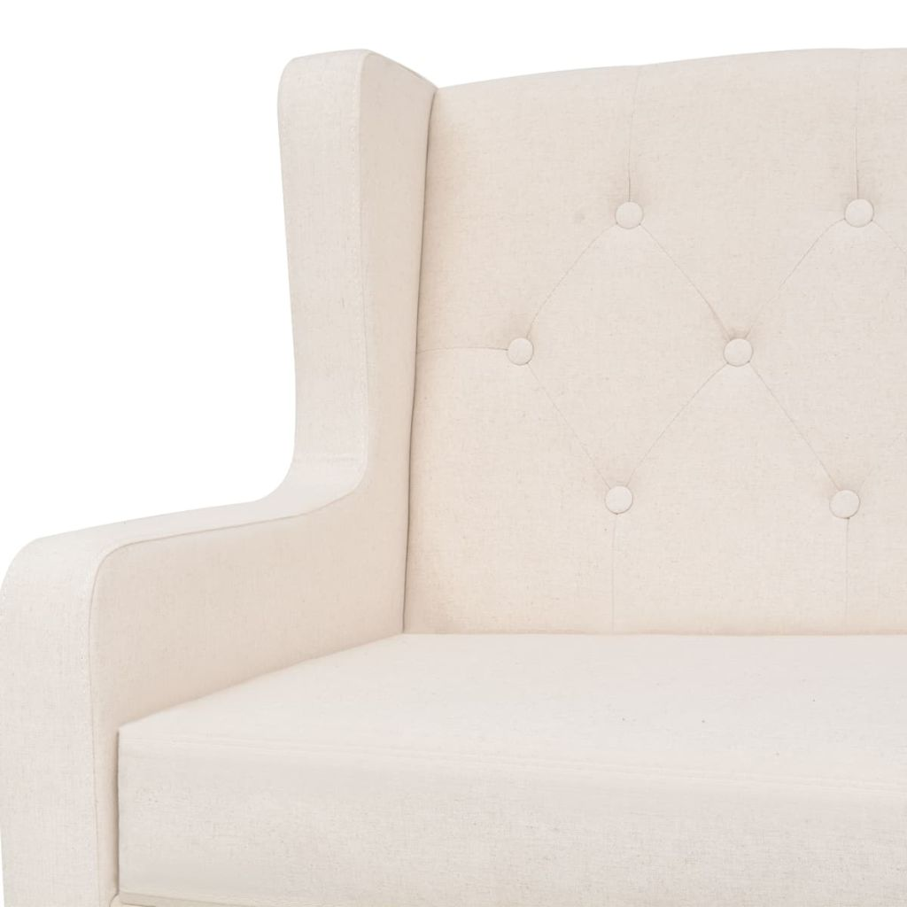 Sofa Set 2 Pieces Fabric Cream White 9