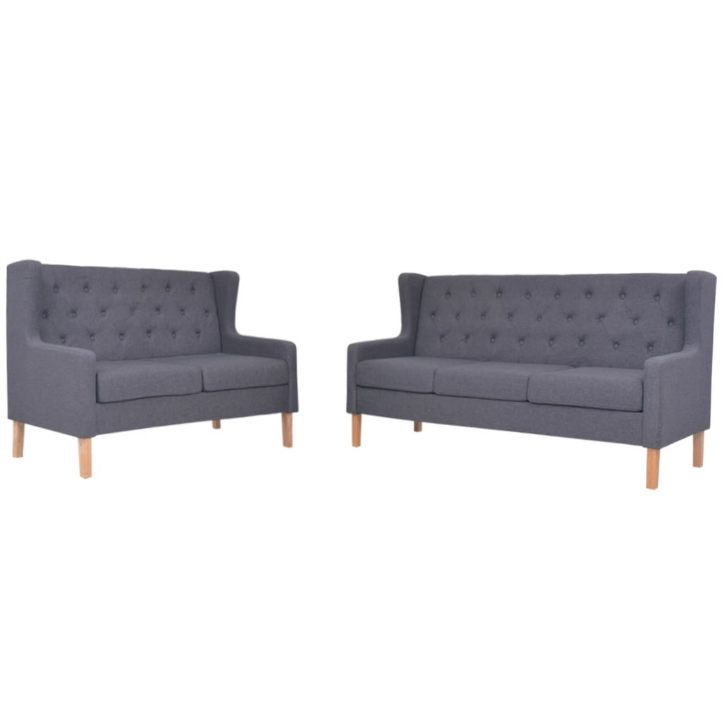 Sofa Set 2 Pieces Fabric Grey