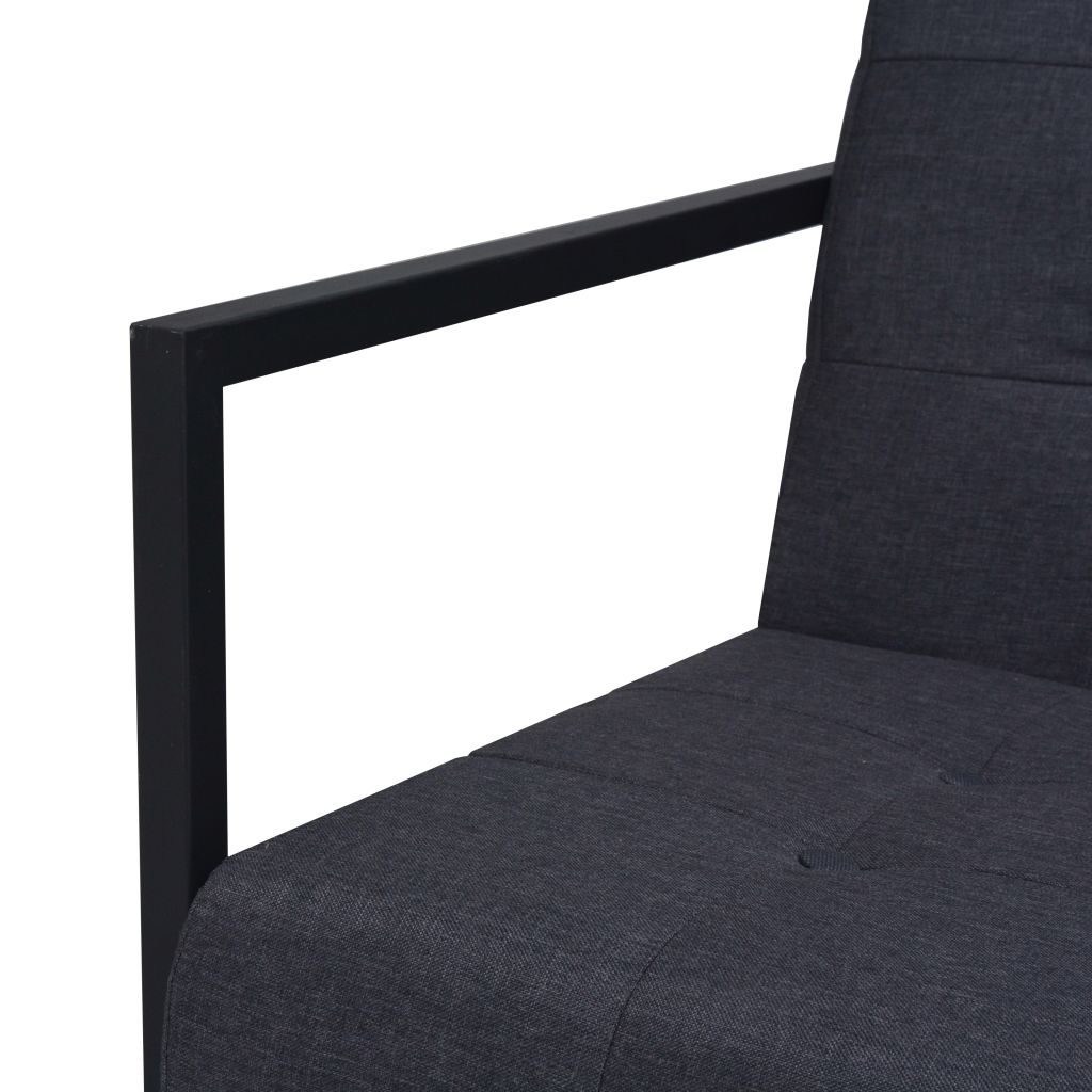2-Seater Sofa with Armrests Steel and Fabric Dark Grey 5
