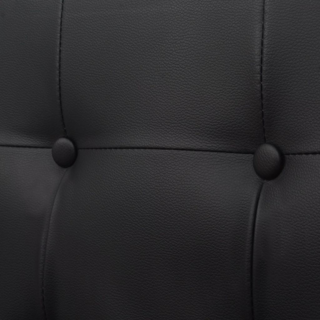 2-Seater Sofa with Armrests Artificial Leather and Steel Black 2