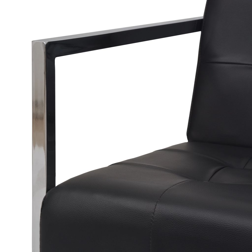 2-Seater Sofa with Armrests Artificial Leather and Steel Black 5