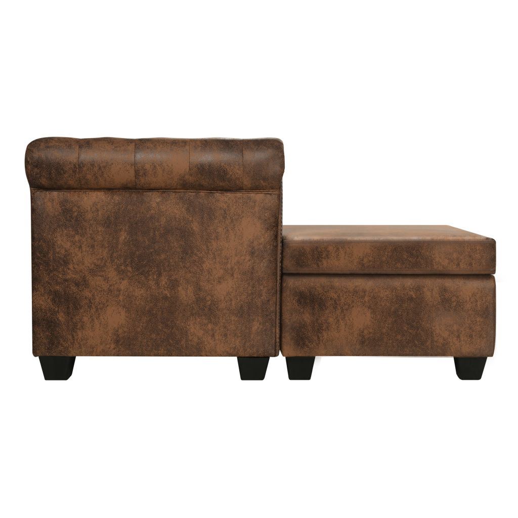 L-shaped Chesterfield Sofa Artificial Suede Leather Brown 3