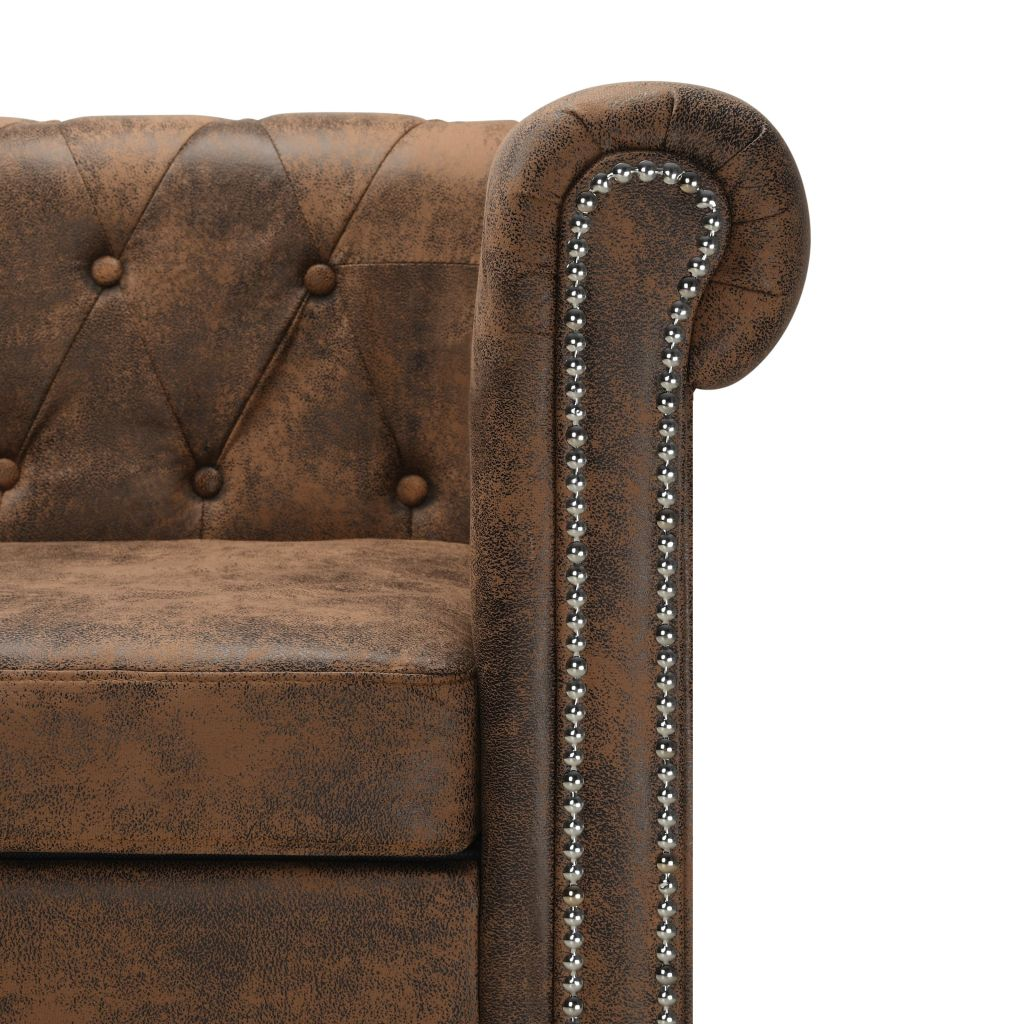 L-shaped Chesterfield Sofa Artificial Suede Leather Brown 4