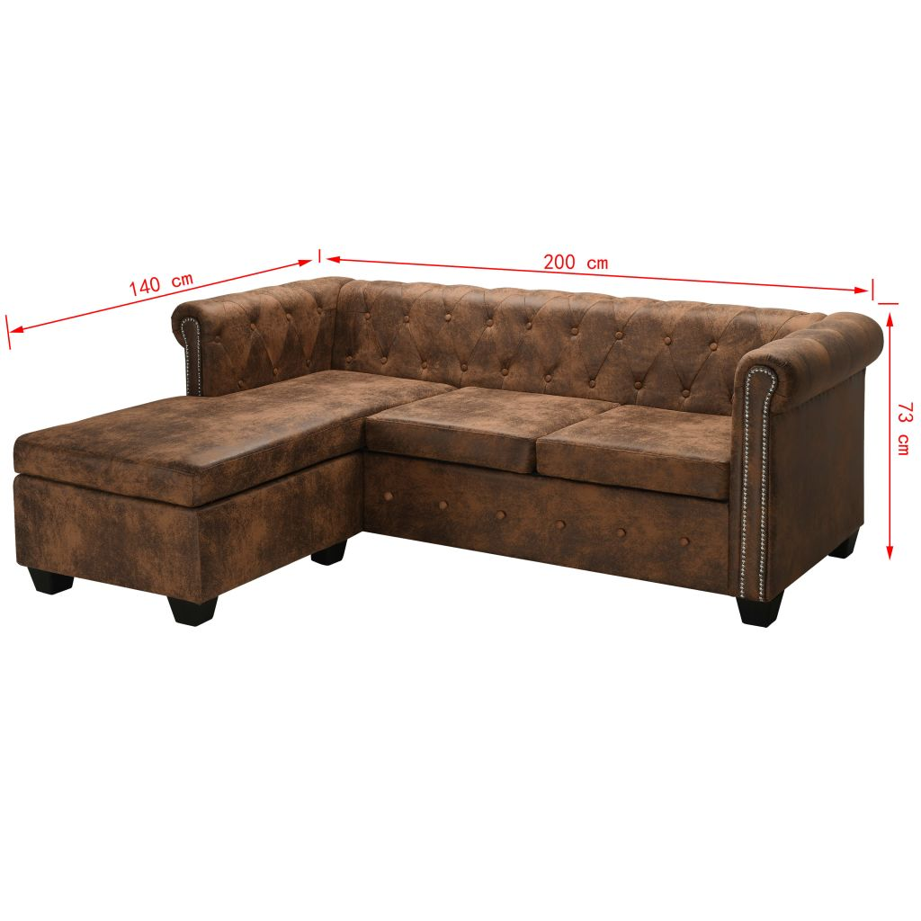 L-shaped Chesterfield Sofa Artificial Suede Leather Brown 7