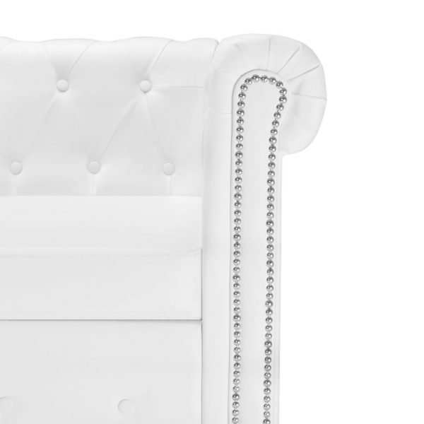 L-shaped Chesterfield Sofa Artificial Leather White 5