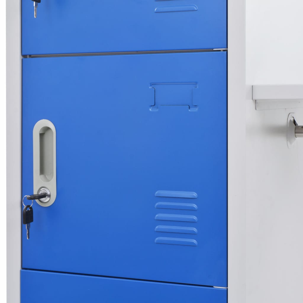 Locker Cabinet with Coat Rack Blue and Grey 110x45x180 cm Metal 2