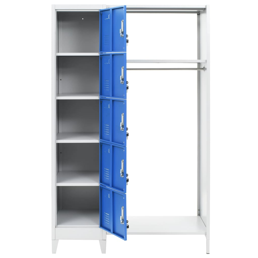 Locker Cabinet with Coat Rack Blue and Grey 110x45x180 cm Metal 4