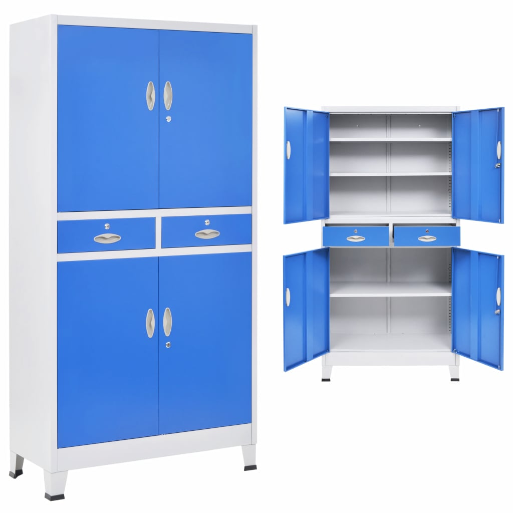 Office Cabinet with 4 Doors Metal 90x40x180 cm Grey and Blue 1