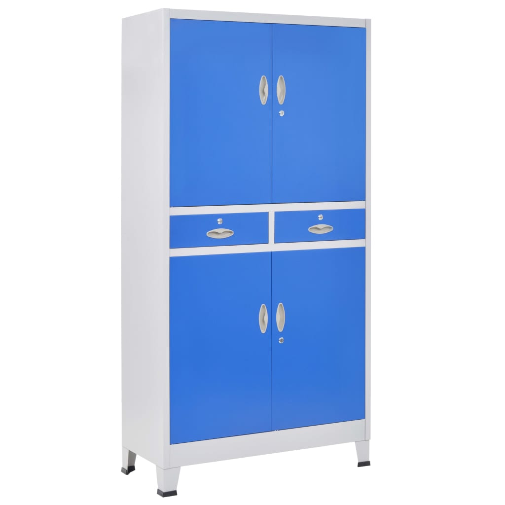 Office Cabinet with 4 Doors Metal 90x40x180 cm Grey and Blue 4