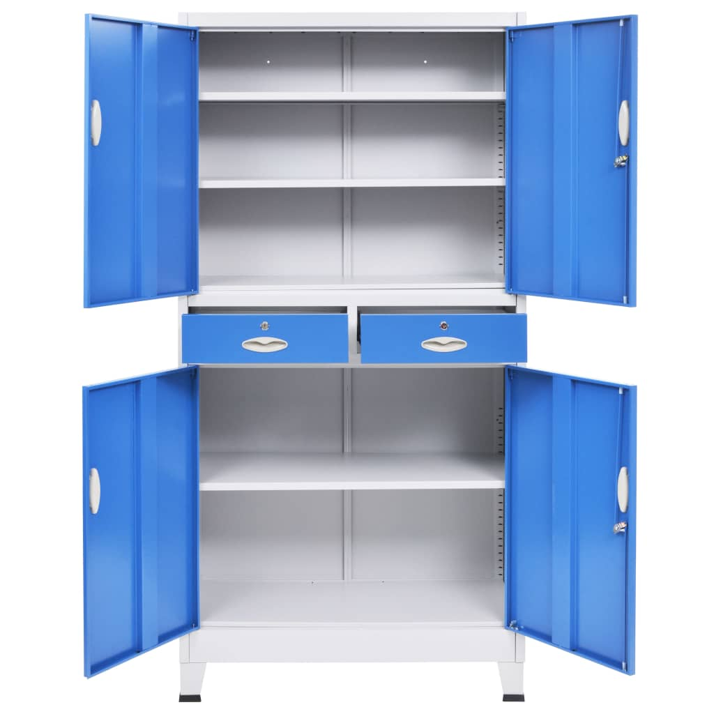 Office Cabinet with 4 Doors Metal 90x40x180 cm Grey and Blue 6