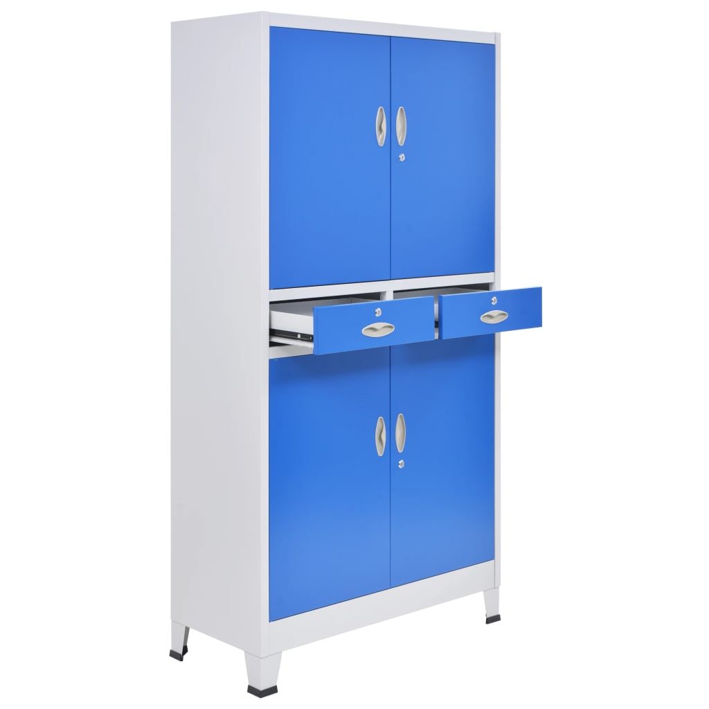 Office Cabinet with 4 Doors Metal 90x40x180 cm Grey and Blue 7