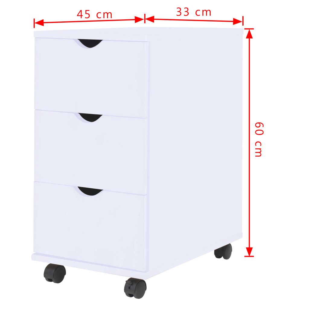 Drawer Unit 33x45x60 cm White 6