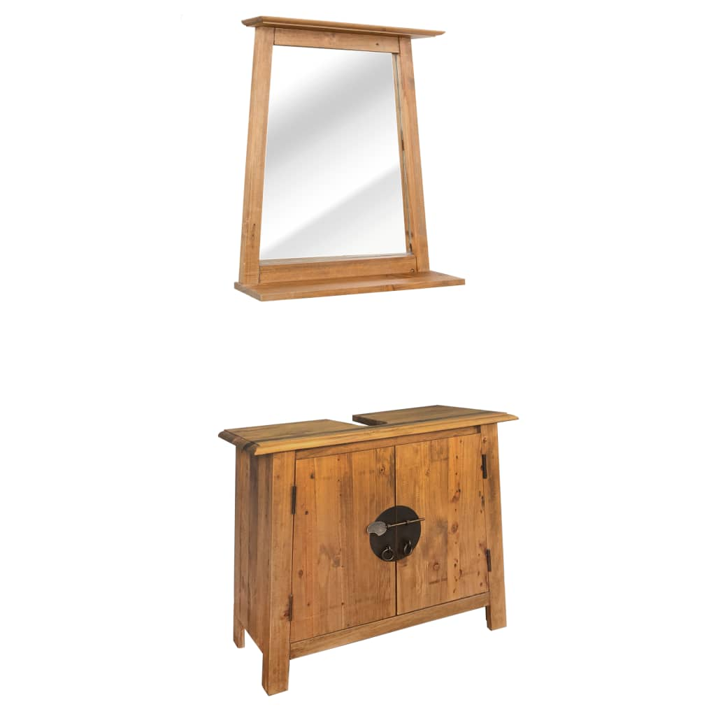 Bathroom Furniture Set Recycled Solid Recycled Pinewood