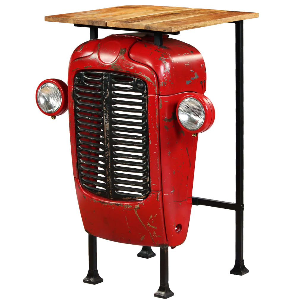 Tractor Bar Table Solid Mango Wood Red 60x60x107 cm