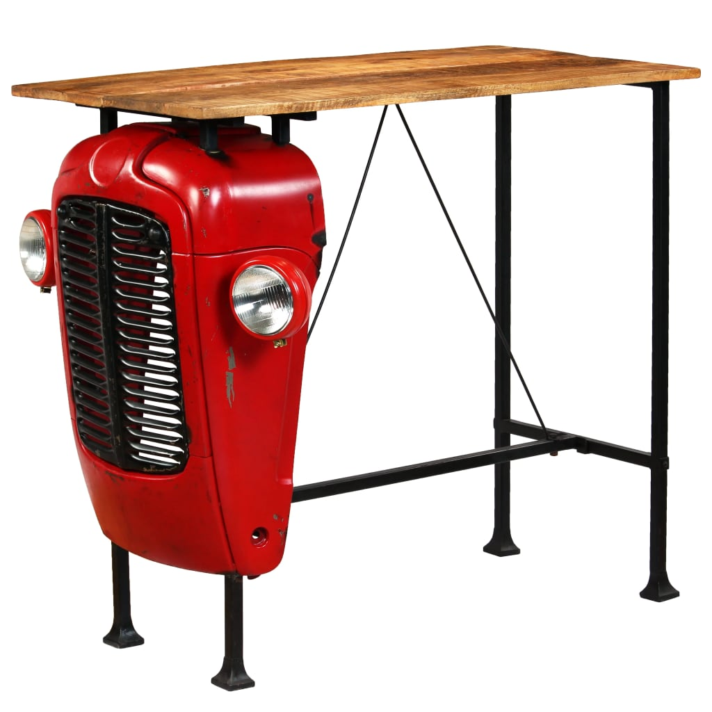 Tractor Bar Table Solid Mango Wood Red 60x120x107 cm 1