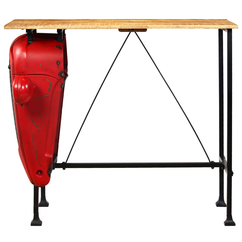 Tractor Bar Table Solid Mango Wood Red 60x120x107 cm 3