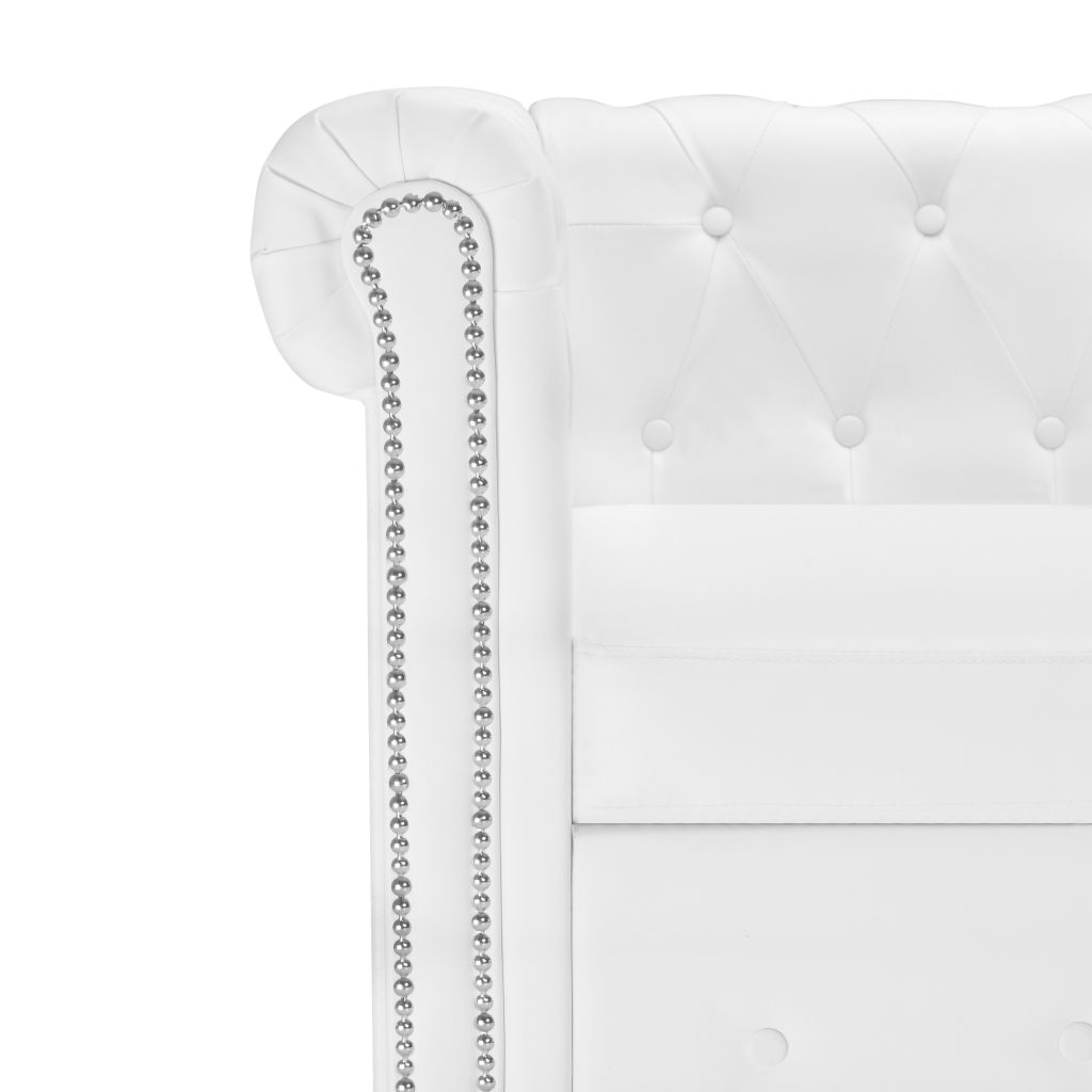 L-shaped Chesterfield Sofa Artificial Leather White 4