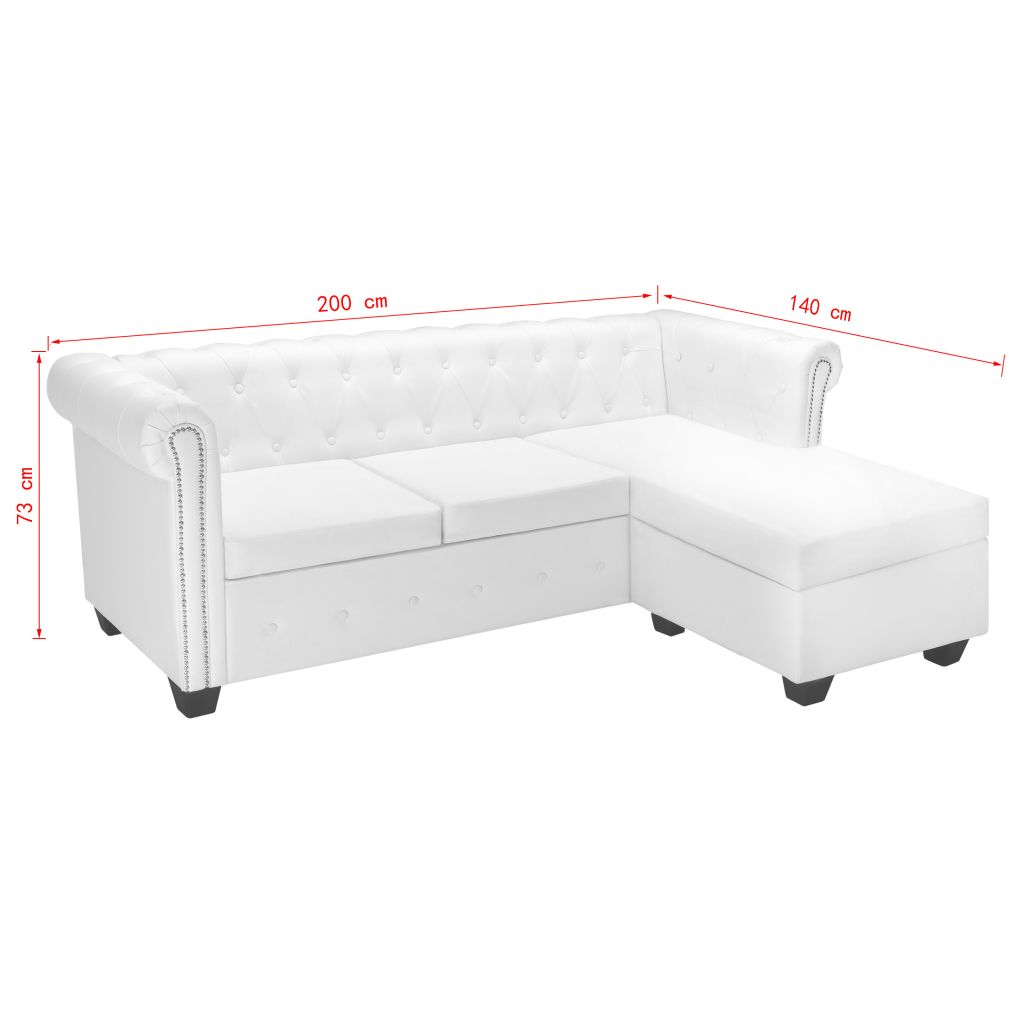 L-shaped Chesterfield Sofa Artificial Leather White 7