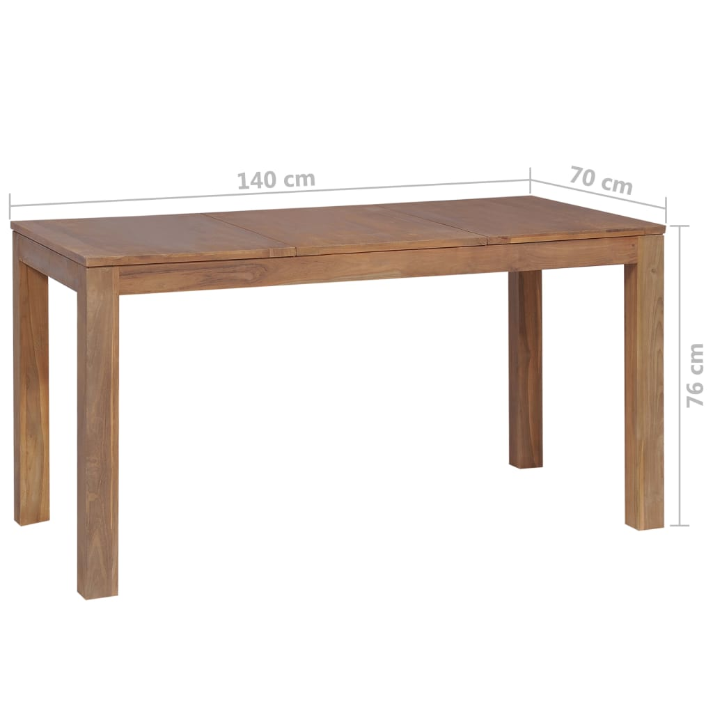 Dining Table Solid Teak Wood with Natural Finish 140x70x76 cm 8