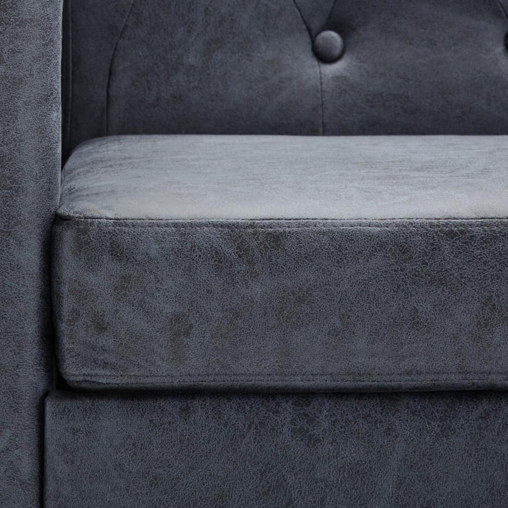 2-Seater Chesterfield Sofa Artificial Suede Leather Grey 3