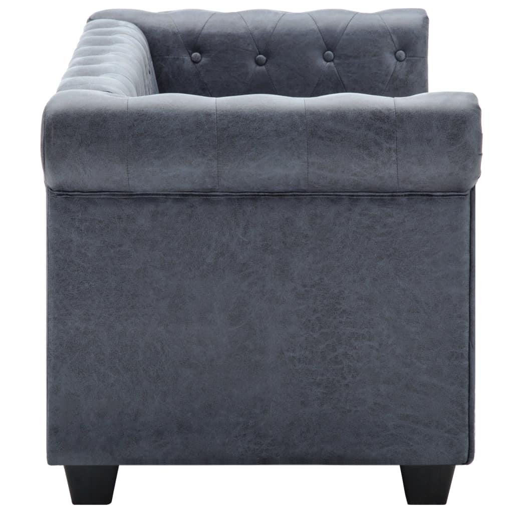 2-Seater Chesterfield Sofa Artificial Suede Leather Grey 6