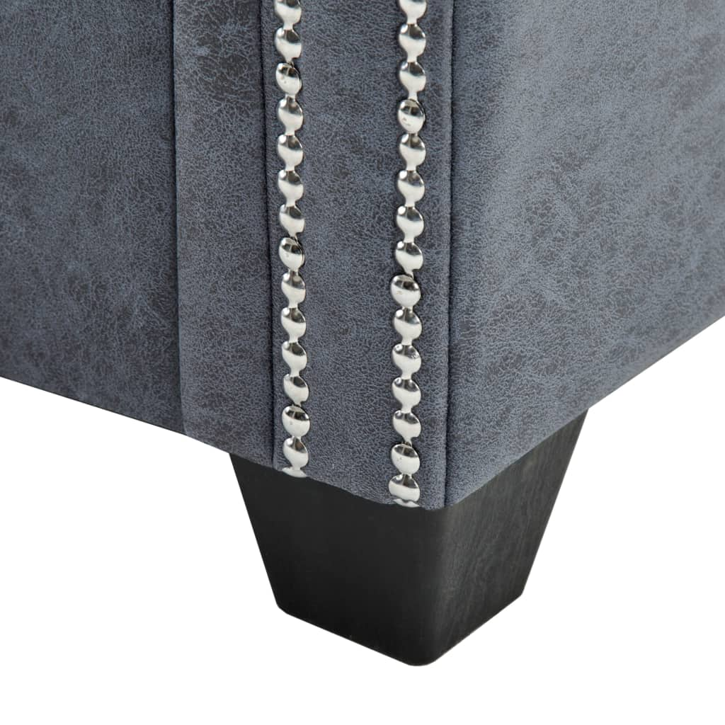 2-Seater Chesterfield Sofa Artificial Suede Leather Grey 7