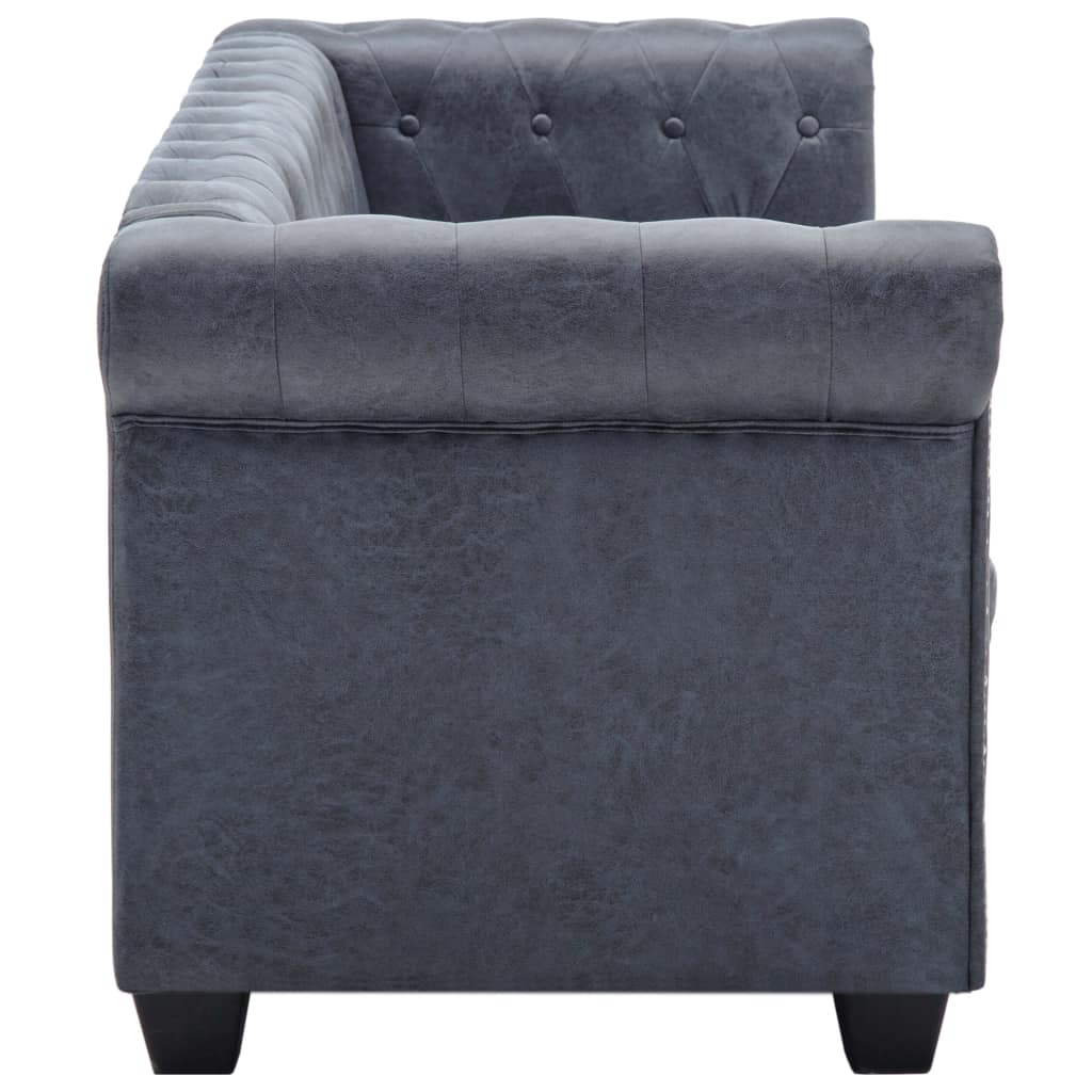 3-Seater Chesterfield Sofa Artificial Suede Leather Grey 5