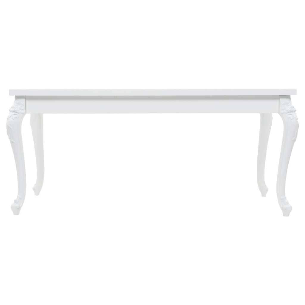 Dining Table 179x89x81 cm High Gloss White 3