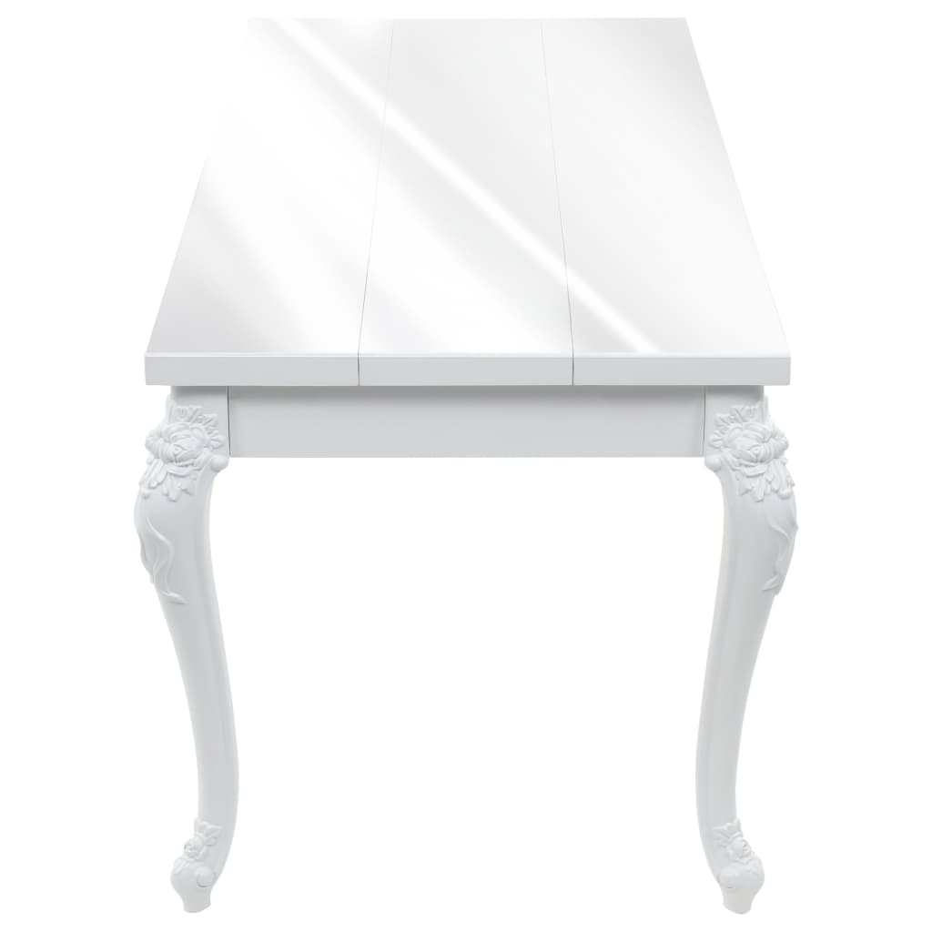Dining Table 179x89x81 cm High Gloss White 4
