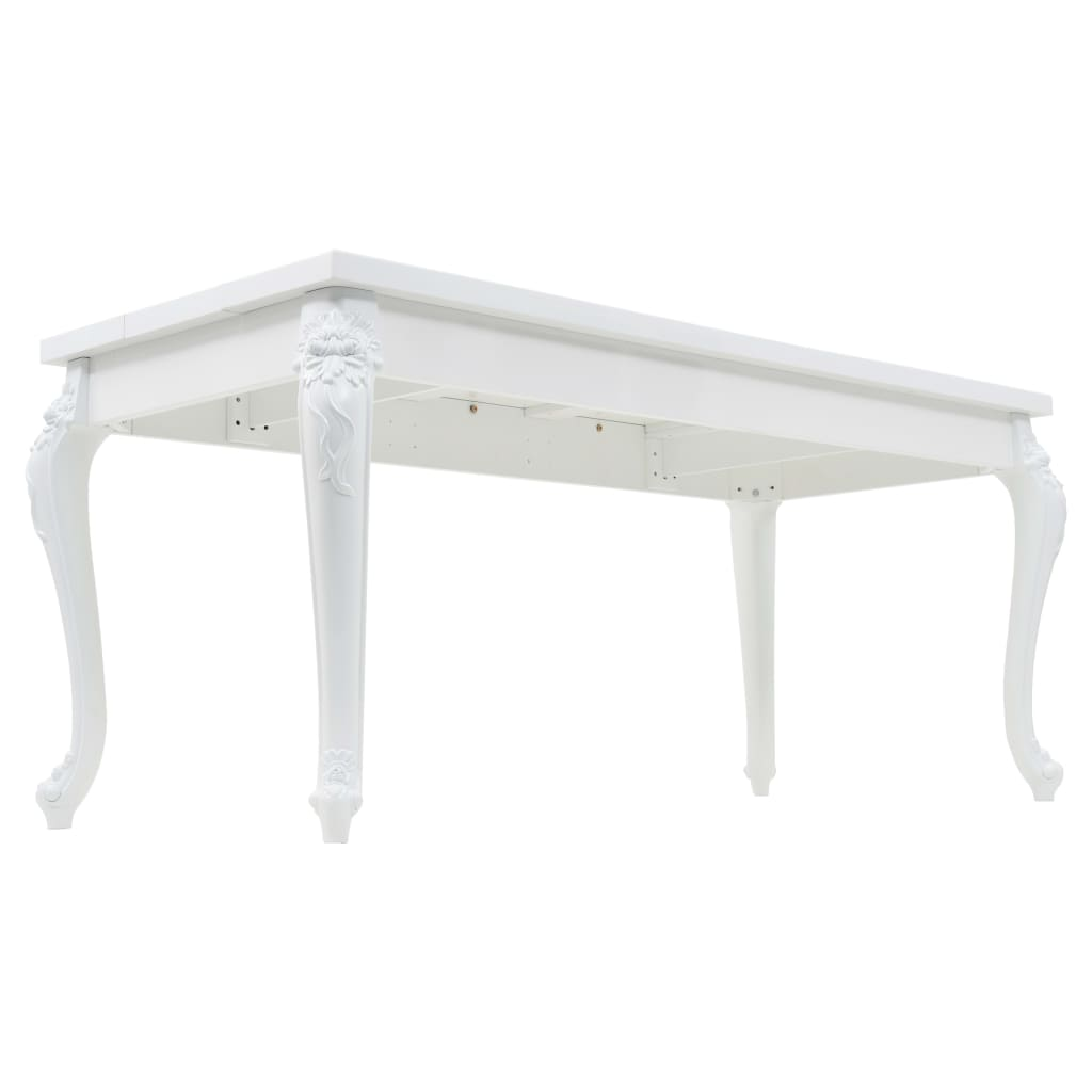 Dining Table 179x89x81 cm High Gloss White 5