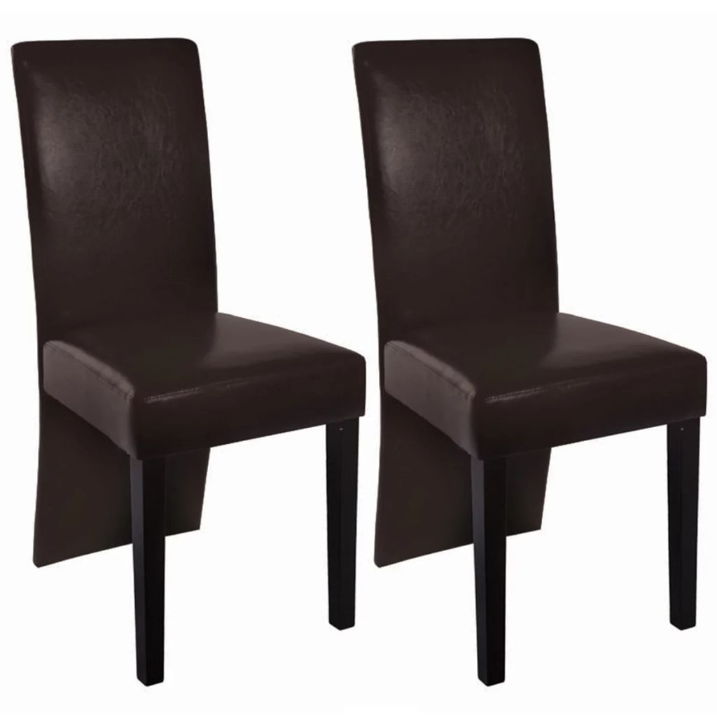 Dining Chairs 2 pcs Dark Brown Faux Leather 1