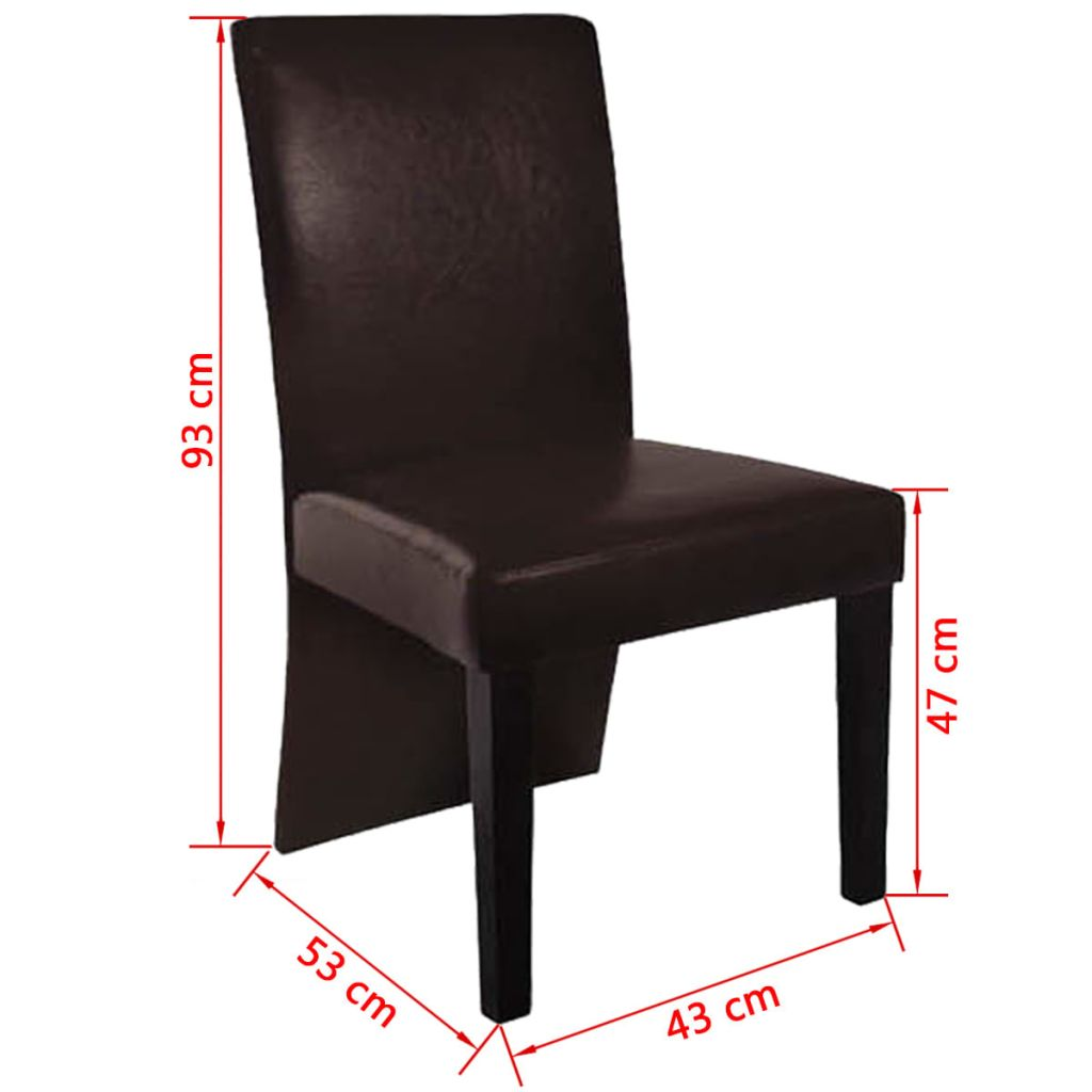Dining Chairs 2 pcs Dark Brown Faux Leather 4