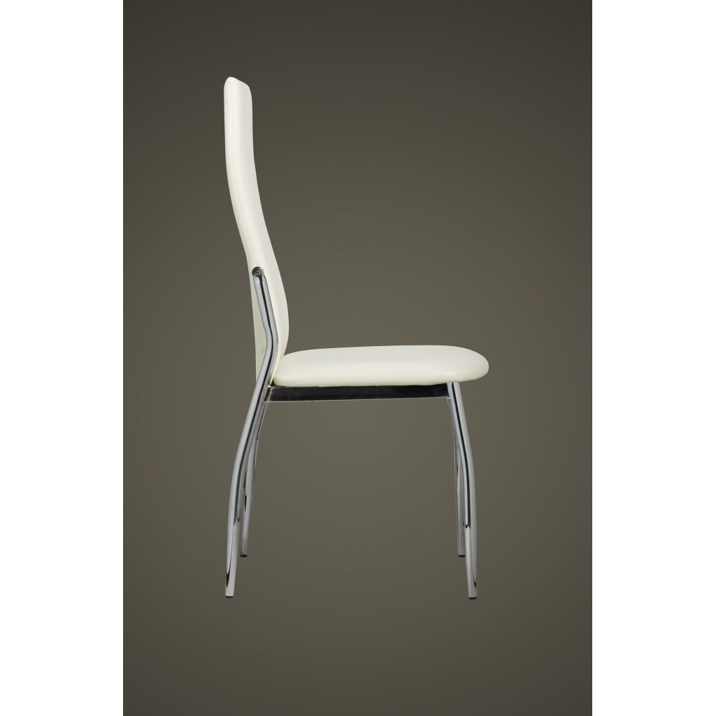 Dining Chairs 4 pcs White Faux Leather 5