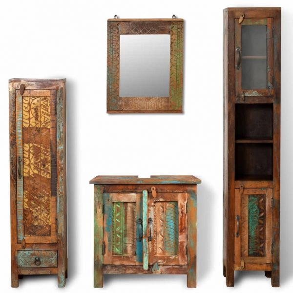 Reclaimed Solid Wood Vanity Cabinet Set with Mirror & 2 Side Cabinets 2