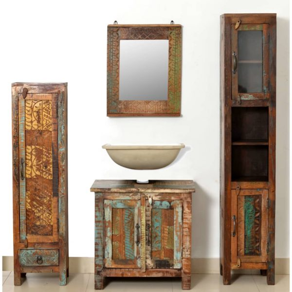 Reclaimed Solid Wood Vanity Cabinet Set with Mirror & 2 Side Cabinets 3