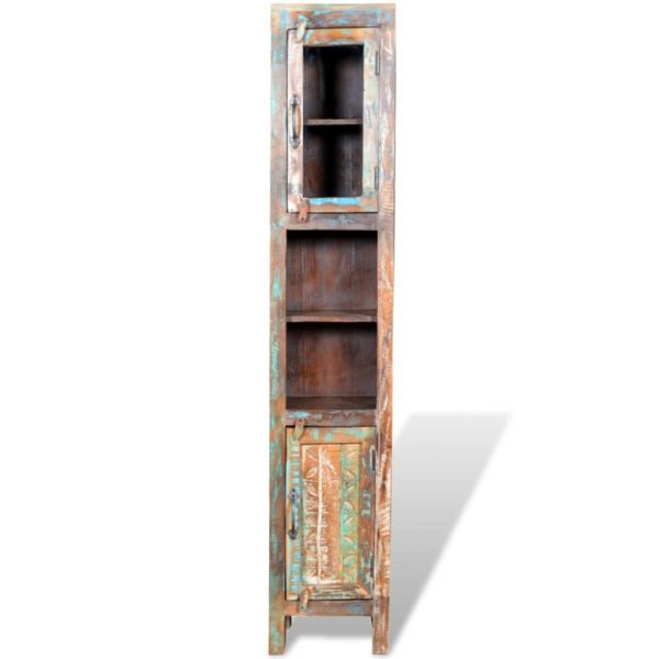 Reclaimed Solid Wood Vanity Cabinet Set with Mirror & 2 Side Cabinets 8